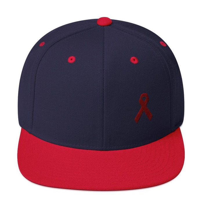 Multiple Myeloma Awareness Flat Brim Snapback Hat with Burgundy Ribbon - One-size / Navy/ Red - Hats