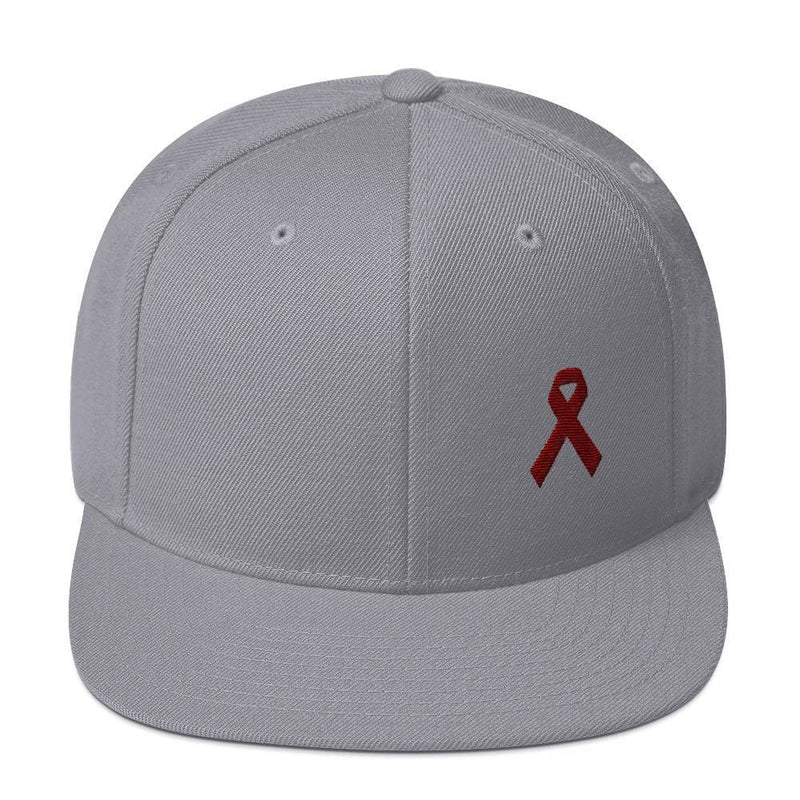 Multiple Myeloma Awareness Flat Brim Snapback Hat with Burgundy Ribbon - One-size / Silver - Hats