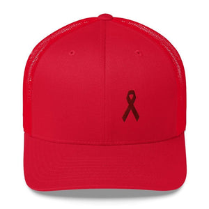 Multiple Myeloma Awareness Hat - Burgundy Ribbon - One-size / Red - Hats