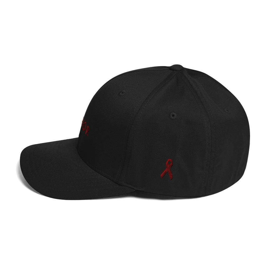 Load image into Gallery viewer, Multiple Myeloma Awareness Twill Flexfit Fitted Hat - Warrior & Burgundy Ribbon - Hats