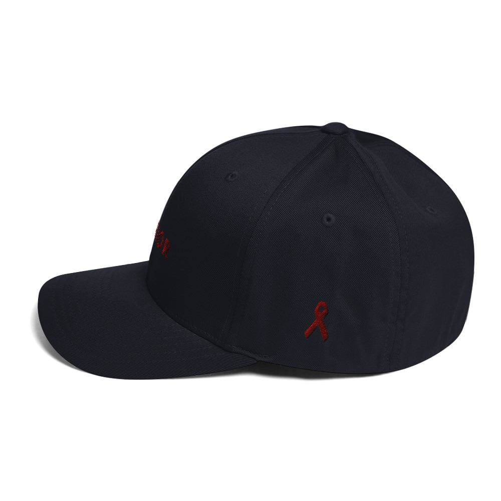 Multiple Myeloma Awareness Twill Flexfit Fitted Hat - Warrior & Burgundy Ribbon - Hats