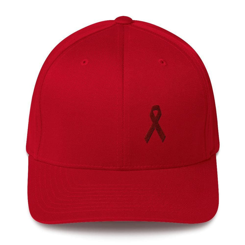 Multiple Myeloma Awareness Twill Flexfit Fitted Hat with Burgundy Ribbon - S/M / Red - Hats