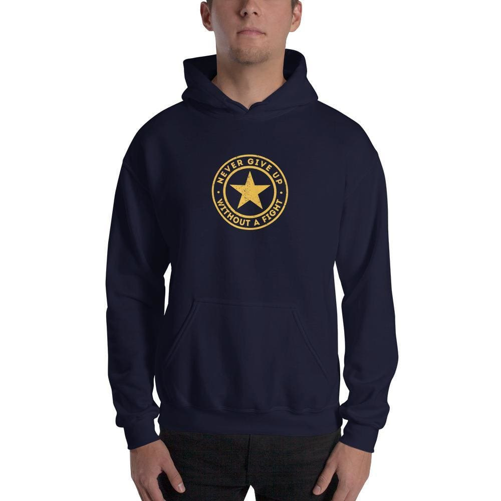 Never Give up Without a Fight Hooded Sweatshirt (Navy) - S / Navy - Sweatshirts