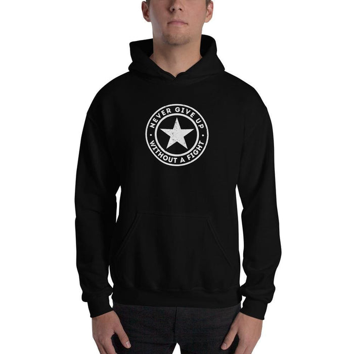 Never Give up Without a Fight Hoodie Sweatshirt - S / Black - Sweatshirts