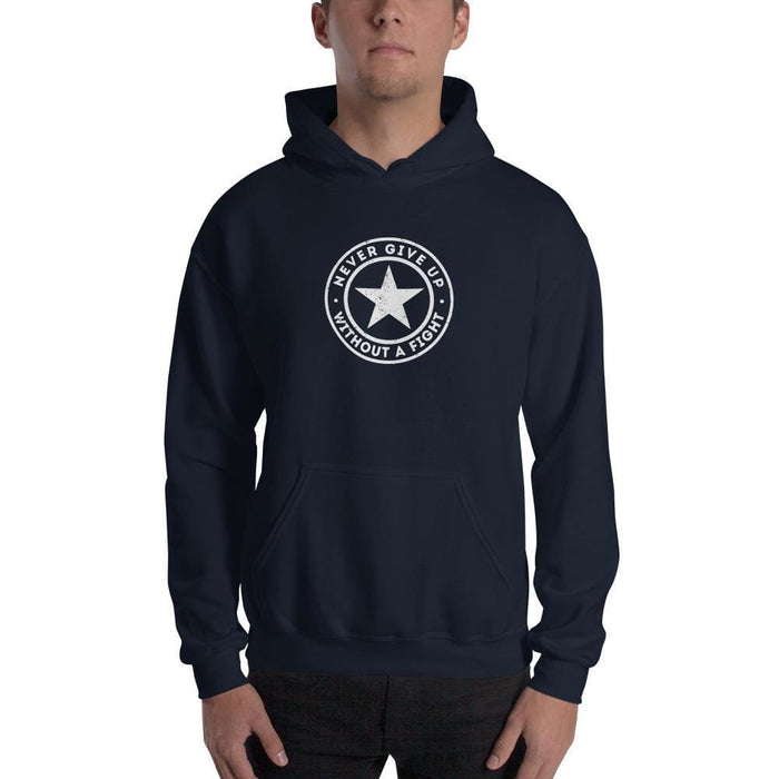 Never Give up Without a Fight Hoodie Sweatshirt - S / Navy - Sweatshirts