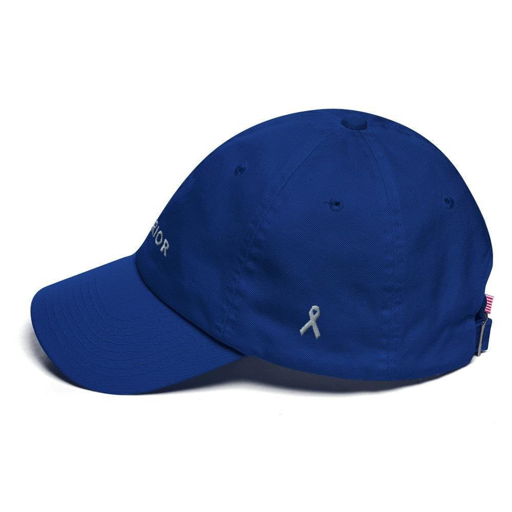 Parkinsons Awareness and Brain Tumor Awareness Dad Hat with Warrior & Grey Ribbon - Hats