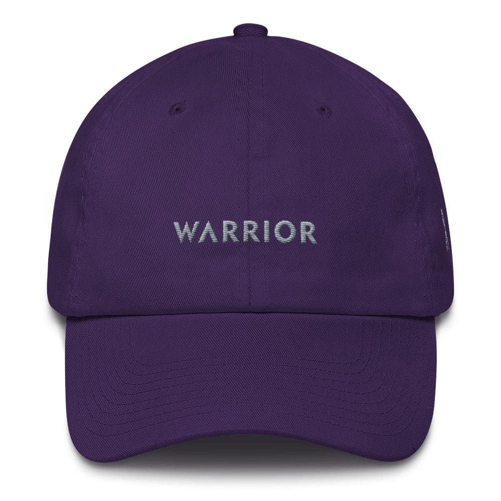 Parkinsons Awareness and Brain Tumor Awareness Dad Hat with Warrior & Grey Ribbon - One-size / Purple - Hats