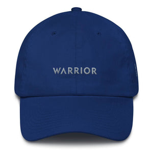Parkinsons Awareness and Brain Tumor Awareness Dad Hat with Warrior & Grey Ribbon - One-size / Royal Blue - Hats
