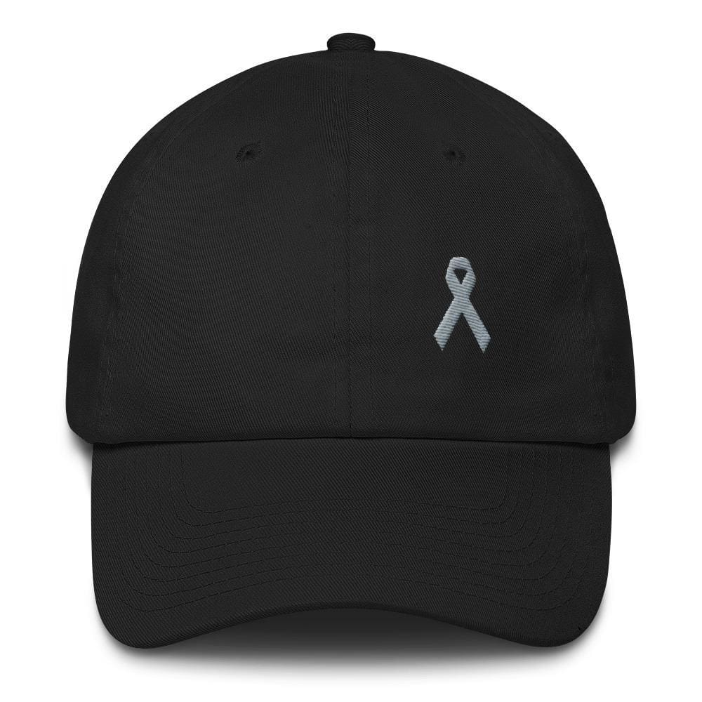 Parkinsons Awareness & Brain Tumor Awareness Dad Hat with Grey Ribbon - One-size / Black - Hats