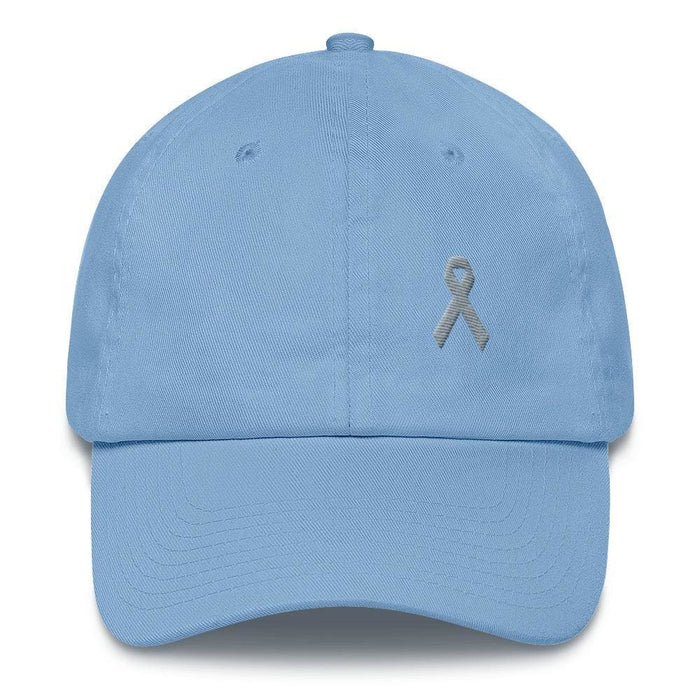 Parkinsons Awareness & Brain Tumor Awareness Dad Hat with Grey Ribbon - One-size / Carolina Blue - Hats