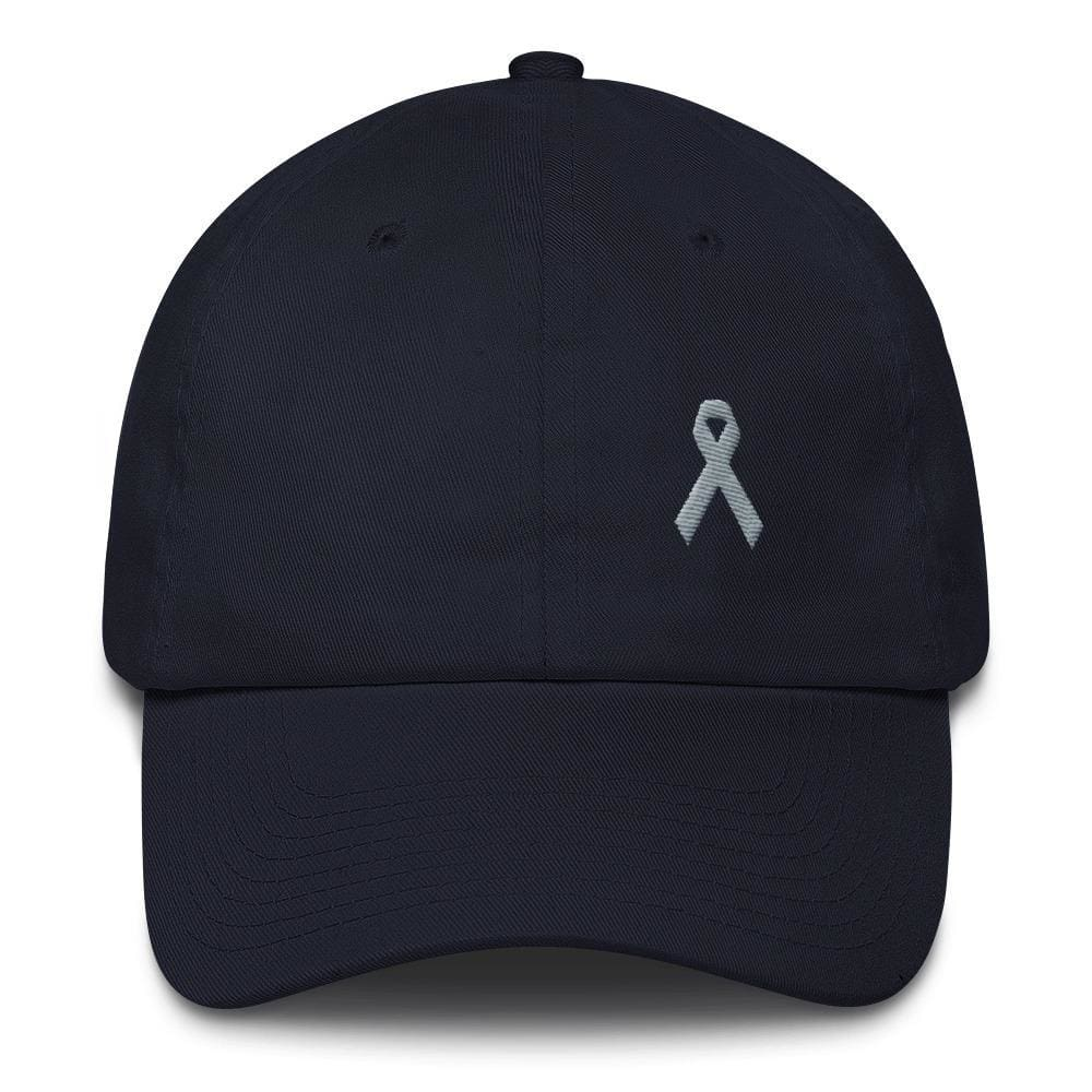 Load image into Gallery viewer, Parkinsons Awareness & Brain Tumor Awareness Dad Hat with Grey Ribbon - One-size / Navy - Hats