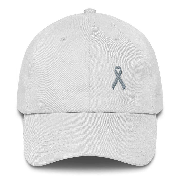 Parkinsons Awareness & Brain Tumor Awareness Dad Hat with Grey Ribbon - One-size / White - Hats