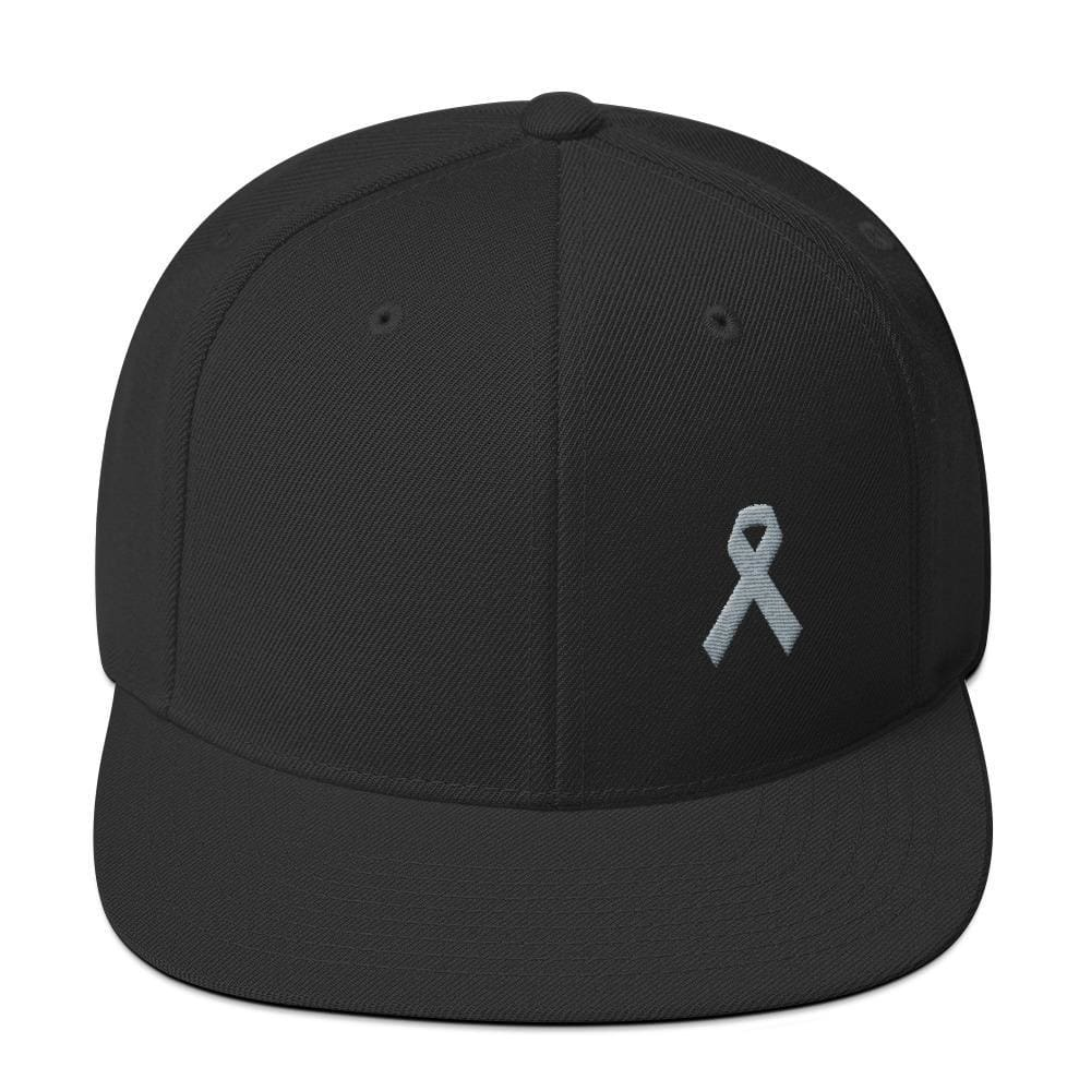 Parkinsons Awareness & Brain Tumor Awareness Flat Brim Snapback Hat with Grey Ribbon - One-size / Black - Hats
