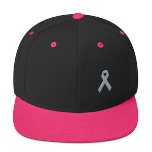 Parkinsons Awareness & Brain Tumor Awareness Flat Brim Snapback Hat with Grey Ribbon - One-size / Black/ Neon Pink - Hats