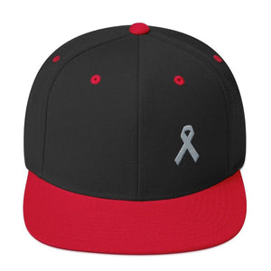 Parkinsons Awareness & Brain Tumor Awareness Flat Brim Snapback Hat with Grey Ribbon - One-size / Black/ Red - Hats