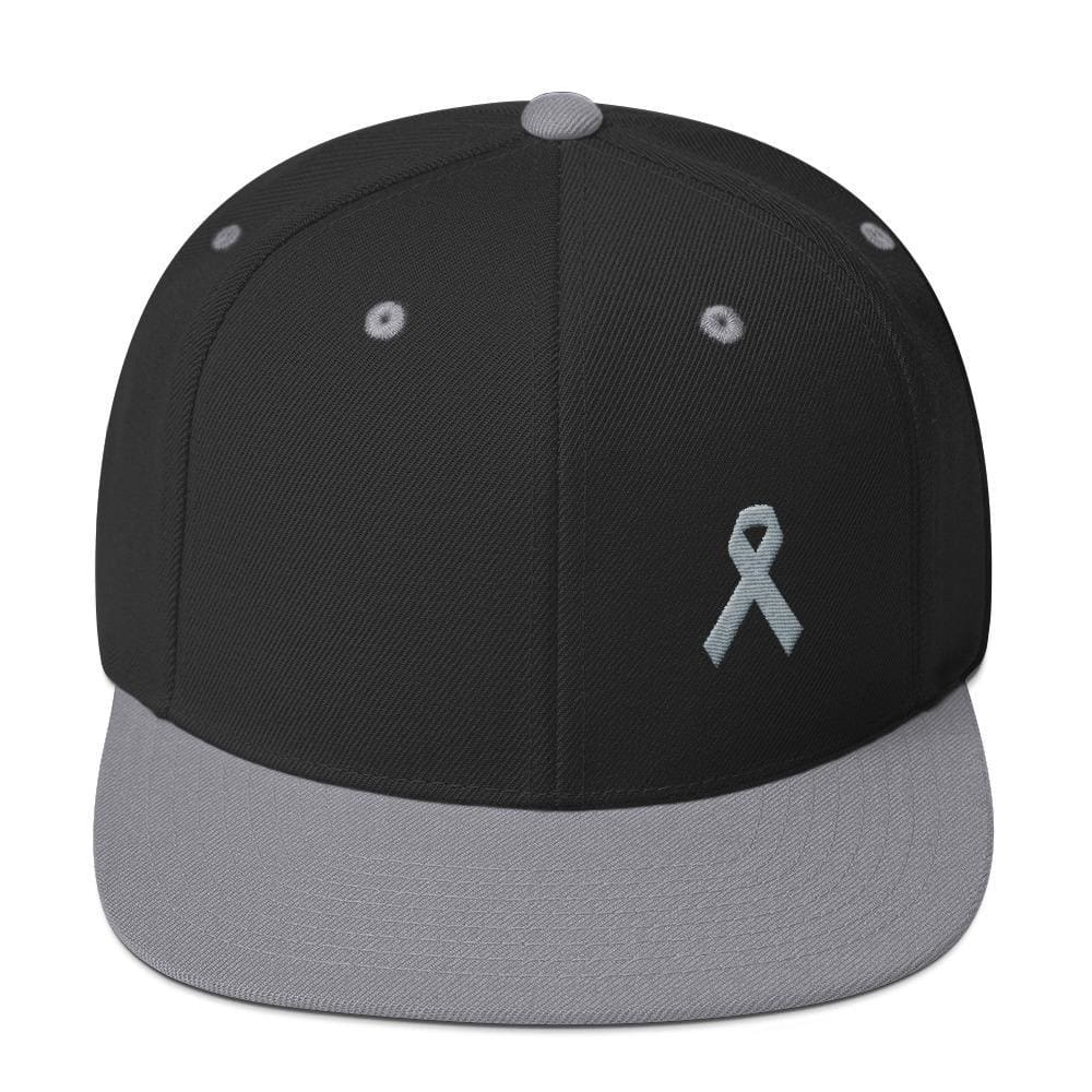 Load image into Gallery viewer, Parkinsons Awareness & Brain Tumor Awareness Flat Brim Snapback Hat with Grey Ribbon - One-size / Black/ Silver - Hats