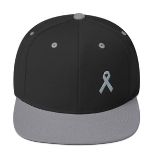 Parkinsons Awareness & Brain Tumor Awareness Flat Brim Snapback Hat with Grey Ribbon - One-size / Black/ Silver - Hats