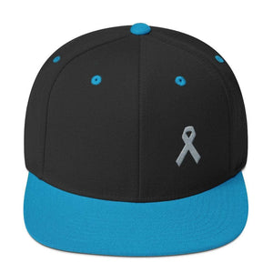 Parkinsons Awareness & Brain Tumor Awareness Flat Brim Snapback Hat with Grey Ribbon - One-size / Black/ Teal - Hats