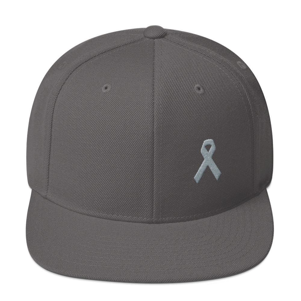 Parkinsons Awareness & Brain Tumor Awareness Flat Brim Snapback Hat with Grey Ribbon - One-size / Dark Grey - Hats