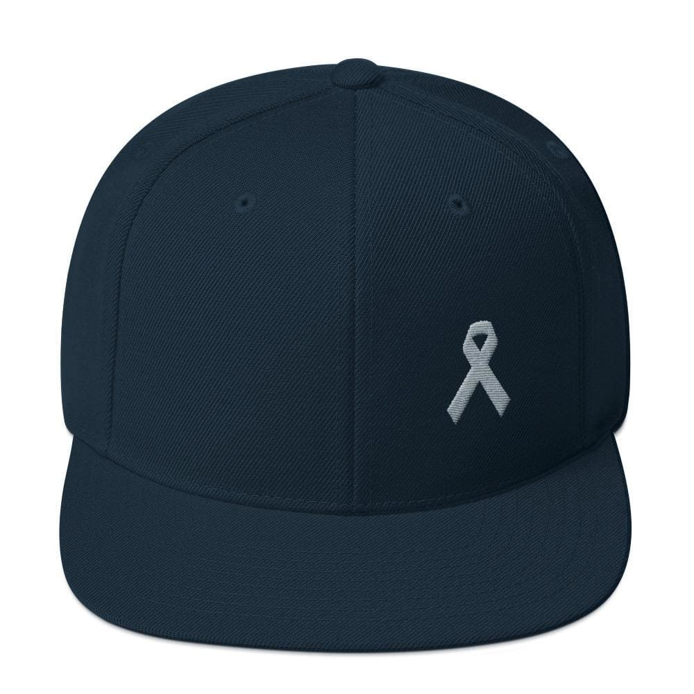 Parkinsons Awareness & Brain Tumor Awareness Flat Brim Snapback Hat with Grey Ribbon - One-size / Dark Navy - Hats