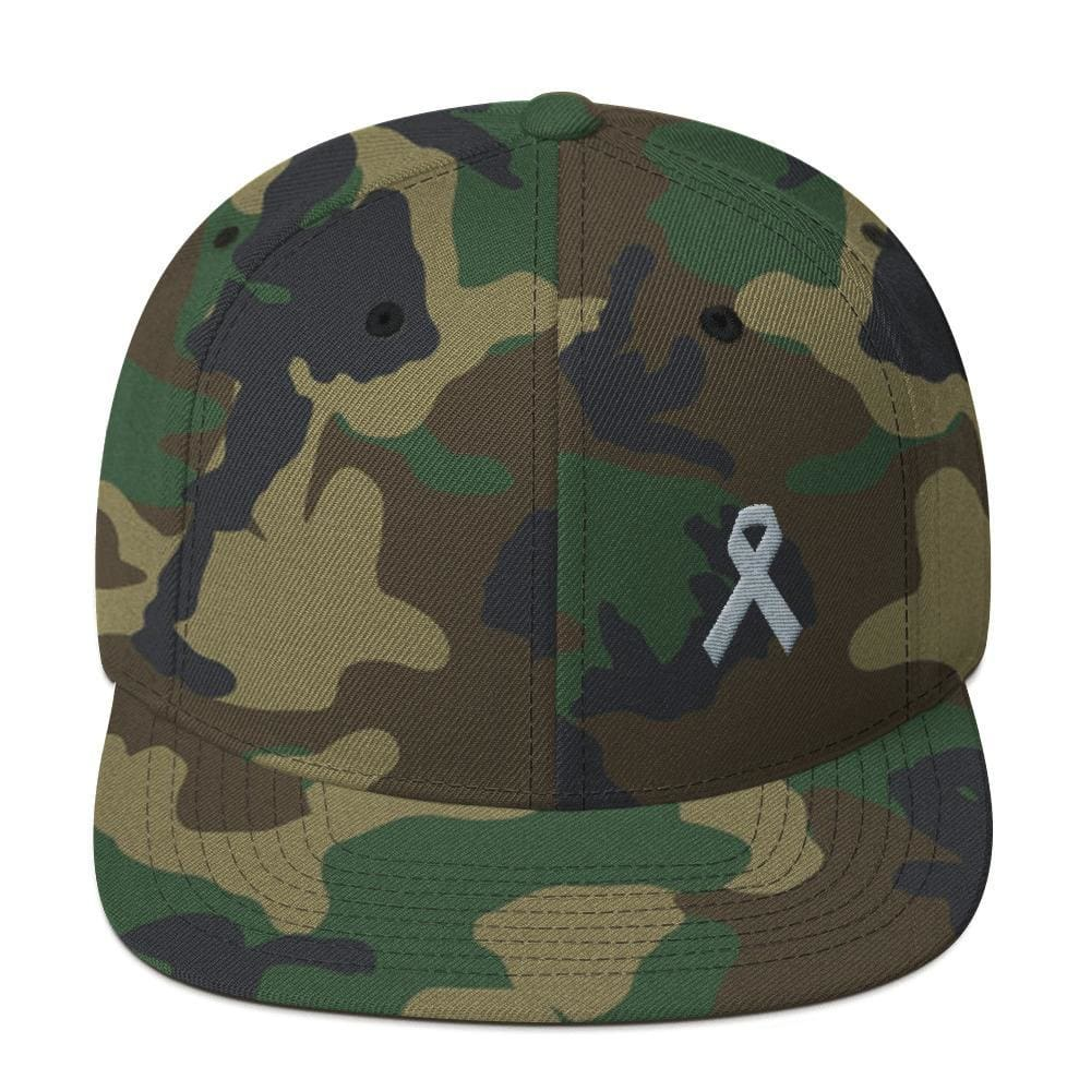 Load image into Gallery viewer, Parkinsons Awareness & Brain Tumor Awareness Flat Brim Snapback Hat with Grey Ribbon - One-size / Green Camo - Hats