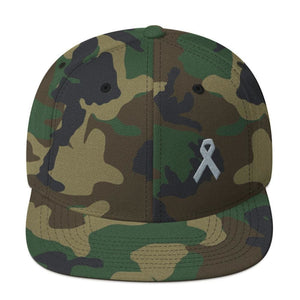 Parkinsons Awareness & Brain Tumor Awareness Flat Brim Snapback Hat with Grey Ribbon - One-size / Green Camo - Hats