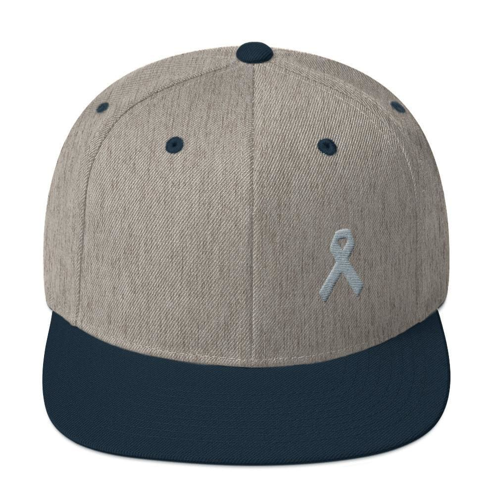 Load image into Gallery viewer, Parkinsons Awareness & Brain Tumor Awareness Flat Brim Snapback Hat with Grey Ribbon - One-size / Heather Grey/ Navy - Hats