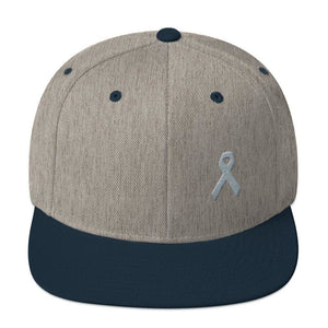 Parkinsons Awareness & Brain Tumor Awareness Flat Brim Snapback Hat with Grey Ribbon - One-size / Heather Grey/ Navy - Hats