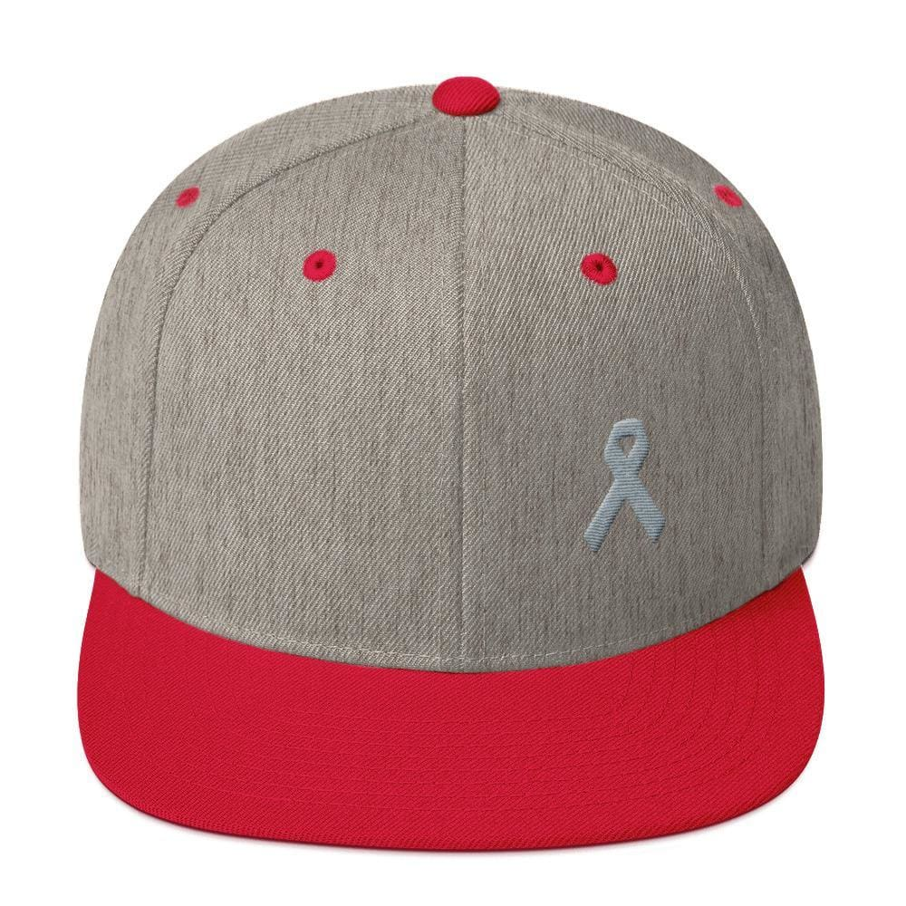 Load image into Gallery viewer, Parkinsons Awareness & Brain Tumor Awareness Flat Brim Snapback Hat with Grey Ribbon - One-size / Heather Grey/ Red - Hats