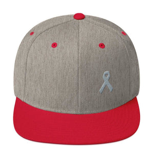 Parkinsons Awareness & Brain Tumor Awareness Flat Brim Snapback Hat with Grey Ribbon - One-size / Heather Grey/ Red - Hats