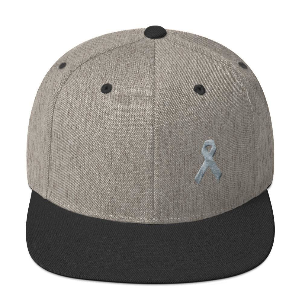 Parkinsons Awareness & Brain Tumor Awareness Flat Brim Snapback Hat with Grey Ribbon - One-size / Heather/Black - Hats