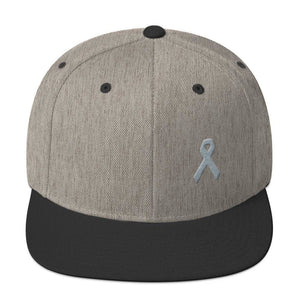 Load image into Gallery viewer, Parkinsons Awareness & Brain Tumor Awareness Flat Brim Snapback Hat with Grey Ribbon - One-size / Heather/Black - Hats
