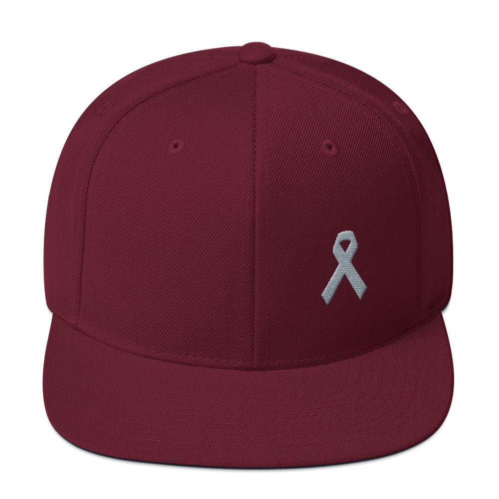 Parkinsons Awareness & Brain Tumor Awareness Flat Brim Snapback Hat with Grey Ribbon - One-size / Maroon - Hats