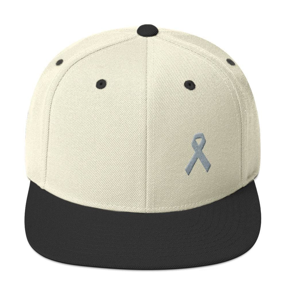 Parkinsons Awareness & Brain Tumor Awareness Flat Brim Snapback Hat with Grey Ribbon - One-size / Natural/ Black - Hats