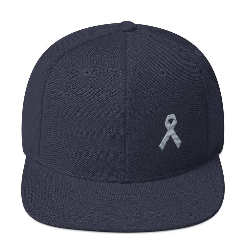 Parkinsons Awareness & Brain Tumor Awareness Flat Brim Snapback Hat with Grey Ribbon - One-size / Navy - Hats