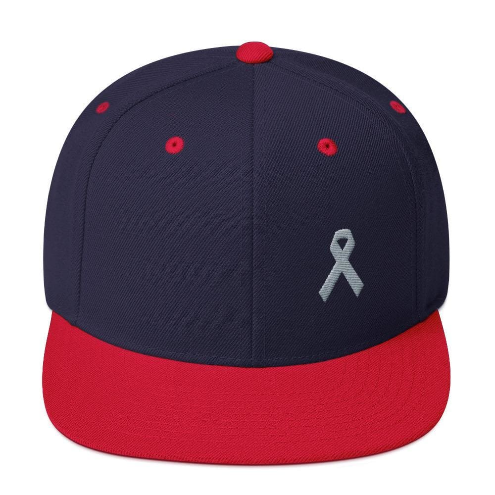 Load image into Gallery viewer, Parkinsons Awareness & Brain Tumor Awareness Flat Brim Snapback Hat with Grey Ribbon - One-size / Navy/ Red - Hats