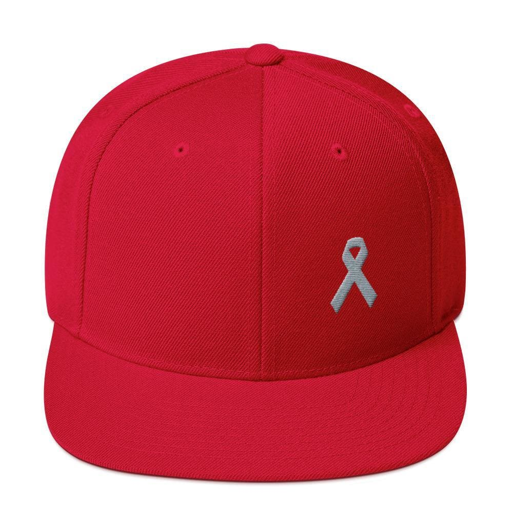 Parkinsons Awareness & Brain Tumor Awareness Flat Brim Snapback Hat with Grey Ribbon - One-size / Red - Hats