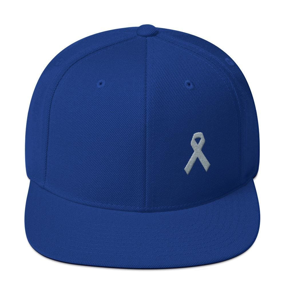 Parkinsons Awareness & Brain Tumor Awareness Flat Brim Snapback Hat with Grey Ribbon - One-size / Royal Blue - Hats