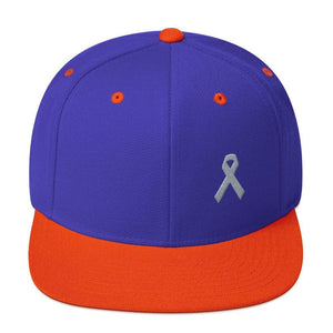 Parkinsons Awareness & Brain Tumor Awareness Flat Brim Snapback Hat with Grey Ribbon - One-size / Royal/ Orange - Hats