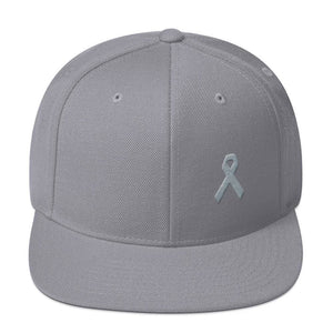 Parkinsons Awareness & Brain Tumor Awareness Flat Brim Snapback Hat with Grey Ribbon - One-size / Silver - Hats