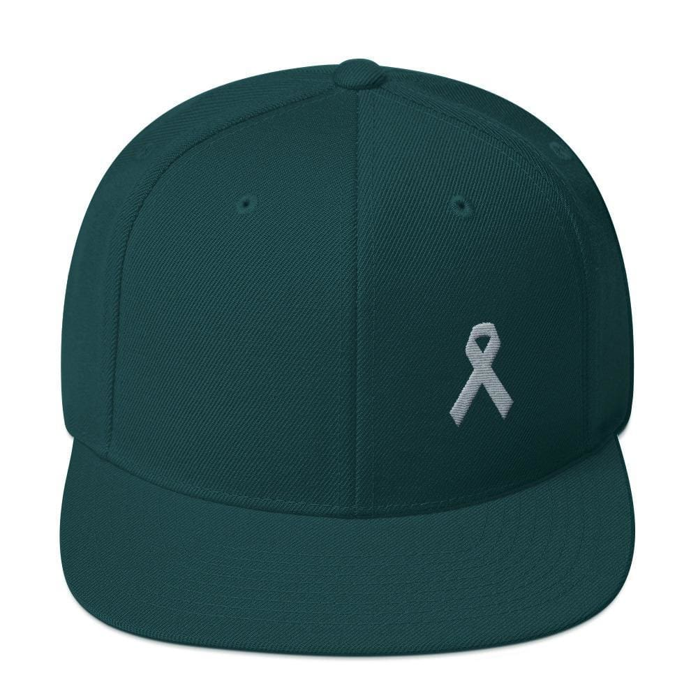 Parkinsons Awareness & Brain Tumor Awareness Flat Brim Snapback Hat with Grey Ribbon - One-size / Spruce - Hats