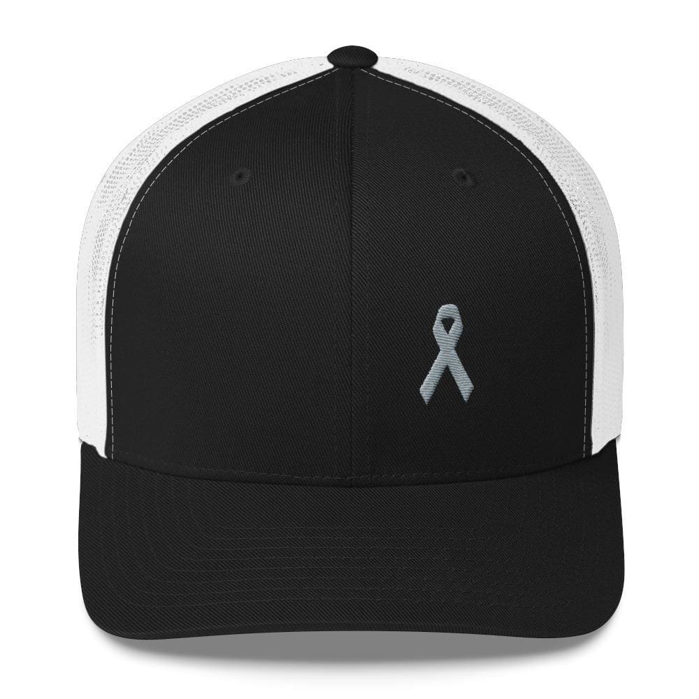 Parkinson's Awareness & Brain Tumor Awareness Snapback Trucker Hat with Grey Ribbon