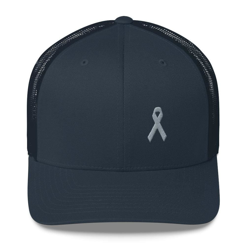 Parkinsons Awareness & Brain Tumor Awareness Snapback Trucker Hat with Grey Ribbon - One-size / Navy - Hats