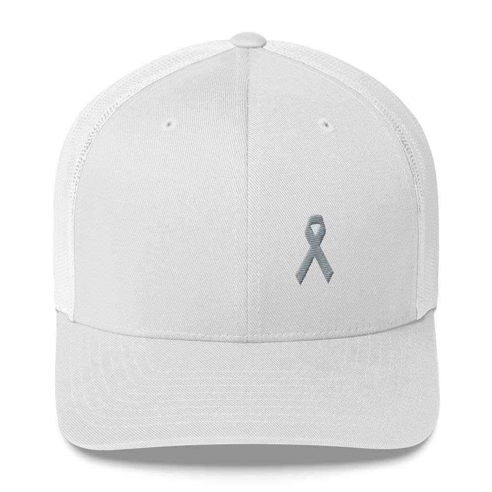 Parkinsons Awareness & Brain Tumor Awareness Snapback Trucker Hat with Grey Ribbon - One-size / White - Hats