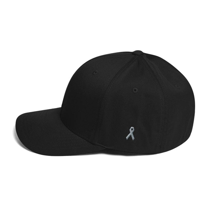 Parkinsons Awareness & Brain Tumor Awareness Twill Flexfit Fitted Hat with Grey Ribbon on the Side - Black / S/M - Hats