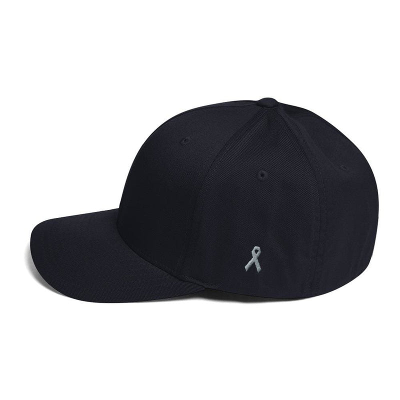 Parkinsons Awareness & Brain Tumor Awareness Twill Flexfit Fitted Hat with Grey Ribbon on the Side - Dark Navy / S/M - Hats