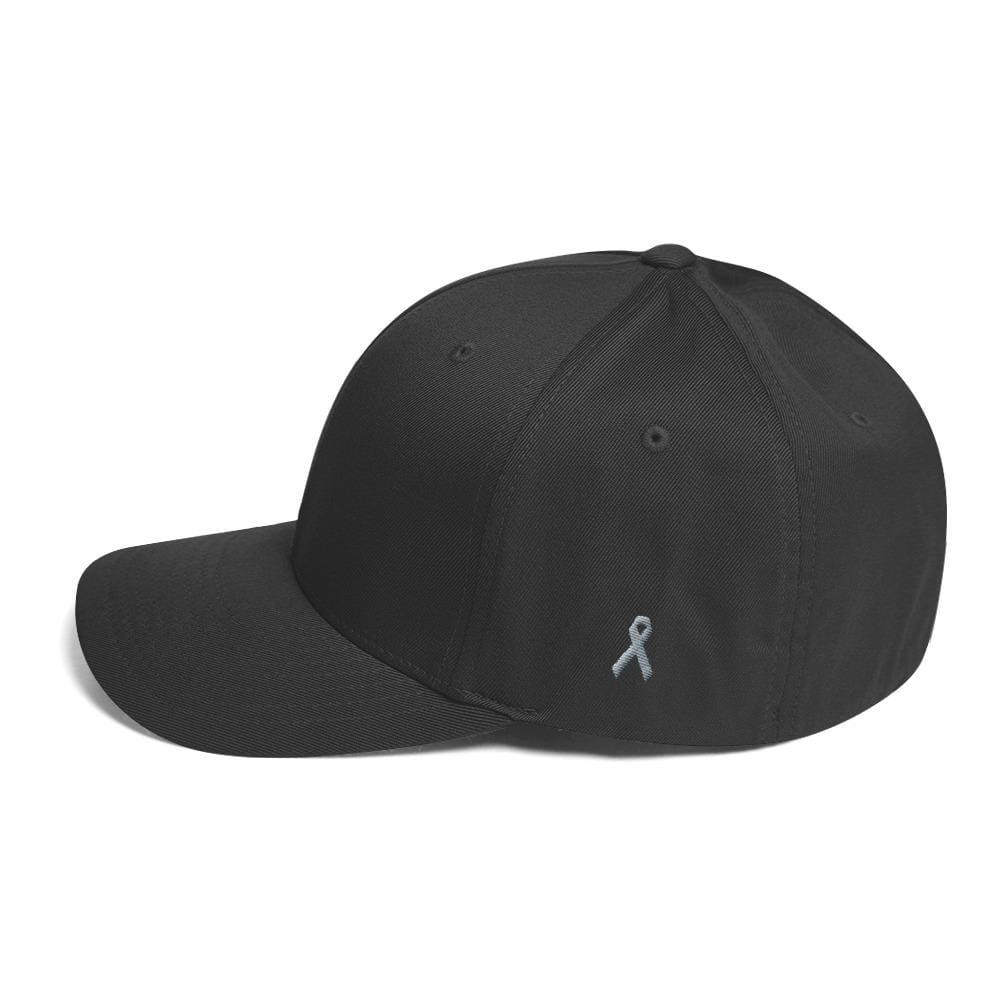 Parkinsons Awareness & Brain Tumor Awareness Twill Flexfit Fitted Hat with Grey Ribbon on the Side - Dark Grey / S/M - Hats