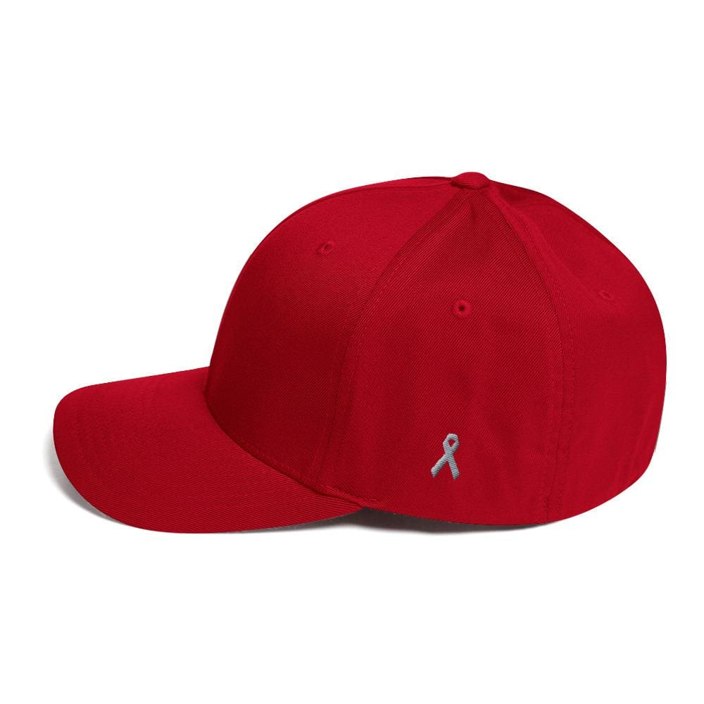 Parkinsons Awareness & Brain Tumor Awareness Twill Flexfit Fitted Hat with Grey Ribbon on the Side - Red / S/M - Hats