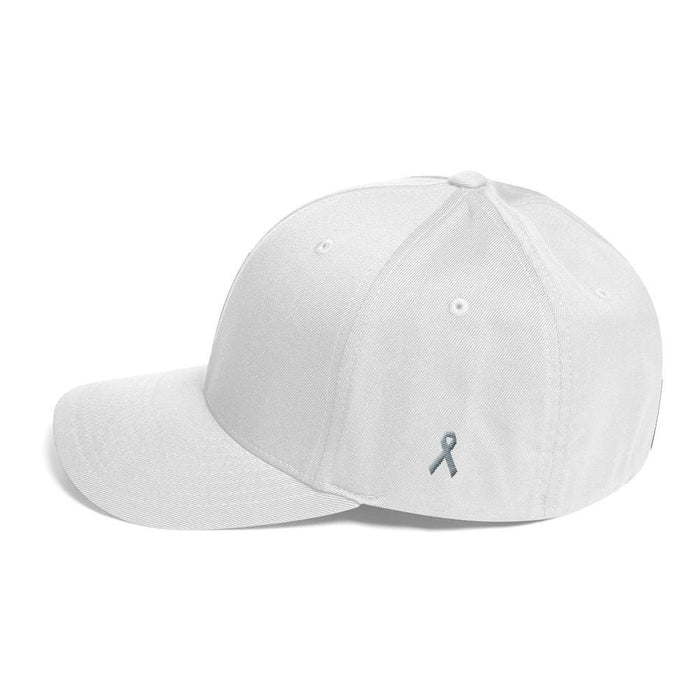 Parkinsons Awareness & Brain Tumor Awareness Twill Flexfit Fitted Hat with Grey Ribbon on the Side - White / S/M - Hats