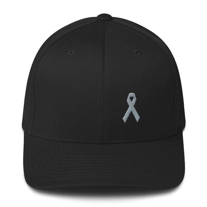 Parkinsons Awareness & Brain Tumor Awareness Twill Flexfit Fitted Hat With Grey Ribbon - S/m / Black - Hats